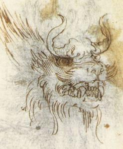 Leonardo's drawing of a dragon
